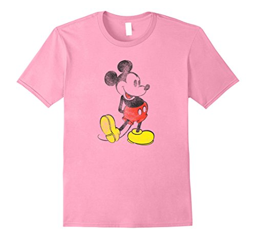 ouse Vintage Effect T Shirt XL Pink (Mens Disney Vintage Mickey Mouse)