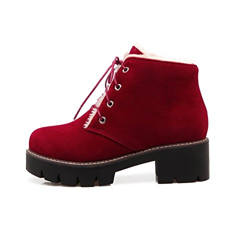 AdeeSu Womens Outdoor Lace-Up Ankle-High Platform Suede Boots SXC02417 Red CTAEXd