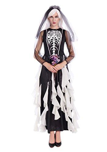 JJ-GOGO Halloween Nun Costume - Black White Scary Zombie Nun Skeleton Dress Costume for Women
