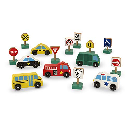 Melissa & Doug Wooden Vehicles and Traffic Signs With 6 Cars and 9 Signs from Melissa & Doug