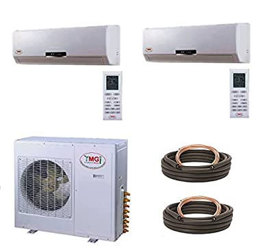 YMGI Dual Zone - 36000 BTU (12K +24K) Wall Mounted Mini Split Air Conditioner with Heat Pump for Home, Office, Apartment