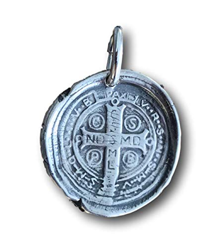 Rosa Mystica Sterling Silver St Benedict Cross Wax Seal Pendant (Sterling Silver Wax Seal Pendant)