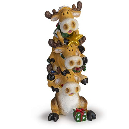 Besti Holiday Christmas Stacker Figurines – Collectable Decorative Christmas Figurines – Lovely Holiday Design – Perfect for Table Centerpiece, Photo Shoot – Original Gift Idea (Moose)