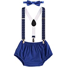 OBEEII Baby Boy Cake Smash First Birthday Y Back Clip Suspenders Bloomers Bowtie Outfits Photography Props