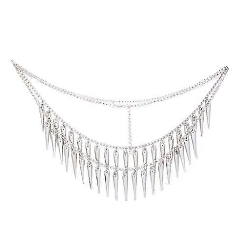 Necklace Cone Spike Tassels Silver