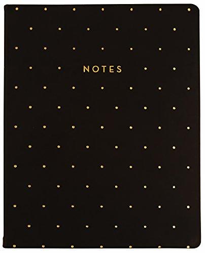 "Eccolo World Traveler Desk Size Journal, 8 x 10"", Black - Gold Pin Dot (D505X)"