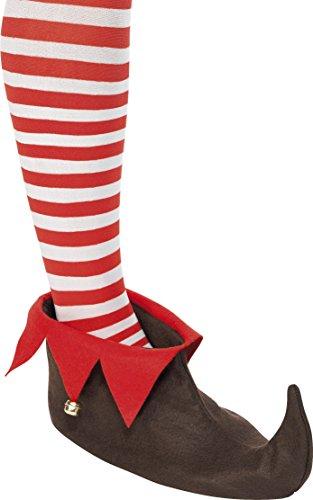 Mens Elf Costume Uk (Brown Elf Shoes with Bells)