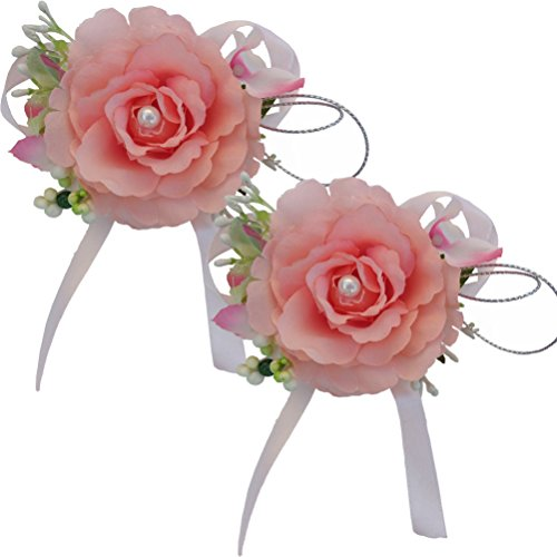 Arlai Set of 2, Prom Pin Corsage, wedding, birthday,dance,homecoming, Artificial flowers (Orange) ()