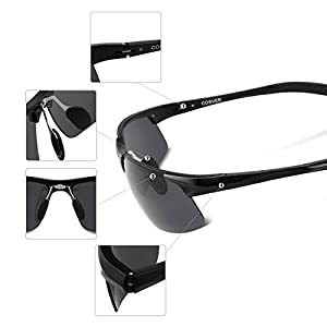 COSVER Men's Sports Style Polarized Sunglasses for Men Driving Cycling Running Fishing Golf Unbreakable Frame Metal Driver Glasses (Black)