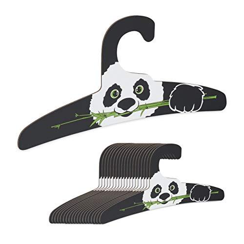 Relaxdays Kinderkleiderbügel, 20er Set, Panda Design, Mädchen & Jungen, schmale Kinderbügel, recycelter Karton, schwarz