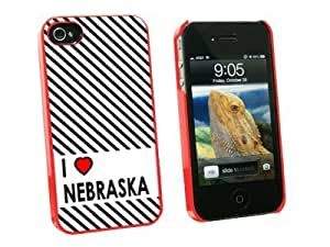 Graphics and More I Love Heart Nebraska Snap-On Hard Protective Case for Apple iPhone 5c - Non-Retail Packaging - Red