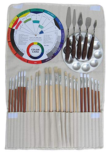 Artist Oil & Acrylics Painting Kit 32Pcs, (24Pcs Brushes, 1Pc Rollup Bag, 1Pc Aluminium Palette, 5Pcs Stainless Steel Spatula, 1Pc 9-Inch Color Wheel), Student Quality Painting Training -