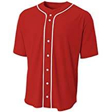 A4 Short Sleeve Full Button Baseball Jersey