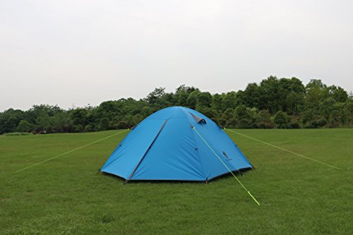 GEERTOP 3-4 Season Tent for Camping 2-3 Person Double Layer Lightweight Backpacking Freestanding Outdoor Hiking Waterproof Backpack Tents - Easy to Set Up 3 【Large Space】Tent size is 83(L) x 71(W) x 47.2(H), with extral vestibule to put the camping gears, luggage; it is a roomy camping travel dome tent with plenty of space for you and a family member or friends; Providing a comfortable and spacious outdoor shelter that comfortably fits 2 man or 3 person 【Waterproof Tent】Geertop 3 season tent - 210D PU5000 mm waterproof Oxford cloth ripstop floor + 210T PU3000 mm anti-tear plaid polyester tent fly while double-sided adhesive waterproof strip seam, ensure water does not make its way into the inside of tent , offer a comfortable camping experience 【Excellent Ventilation 】The camping inner tent made of 210T breathable polyester + high density fine nylon mesh with 2 doors + 2 ventilation windows + 2 vestibule, allowing for greater airflow throughout the tent, avoiding bothered by stuffiness