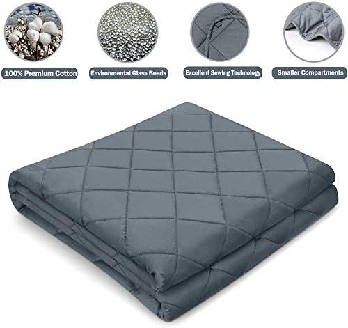 Cocobela Gewichtsdecke aus 100% Baumwolle, Schwere Decke Anti Stress, Beschwerte Decke Grau, Therapiedecke, Weighted Blanket für Erwachsene und Kinder, 4.6kg 100 x 150 cm