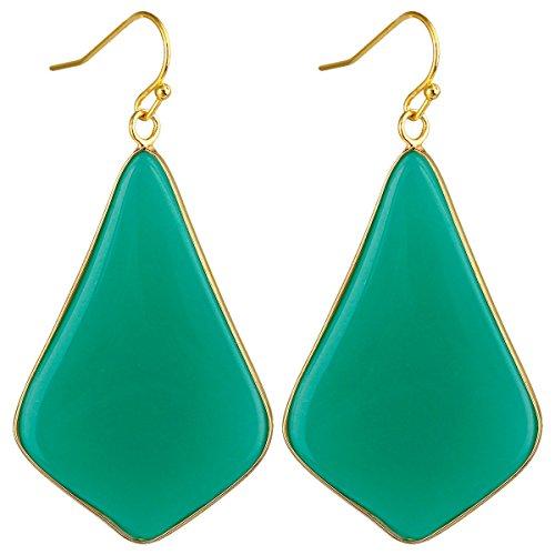 SUNYIK Women's Dark Green Glass Large Rhombus Dangle Earrings - Green Glass Stone Earrings
