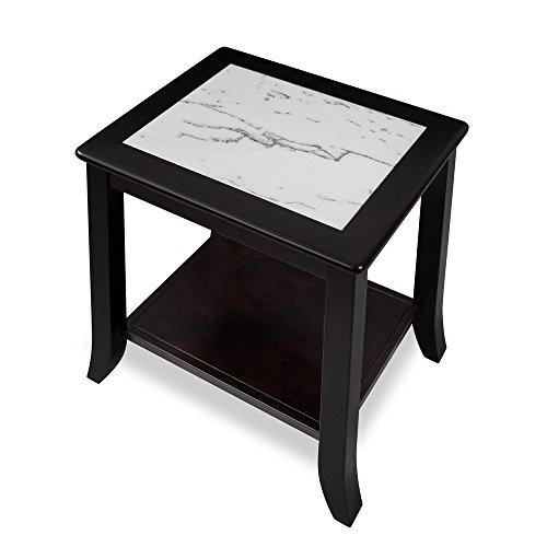 PrimaSleep Modern Natural Marble Top Wood Coffee Table/ End Table/ Side Table, 22