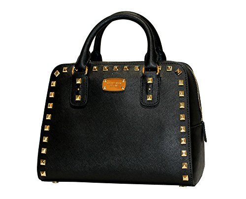 MICHAEL Michael Kors Women's Sandrine Studded Saffiano Leather SMALL Satchel Handbag (Black) by MICHAEL Michael Kors