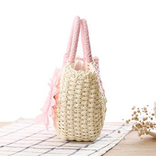 Totalizador Paja Vacaciones Mujeres Punto Bag Playa Rosa Bolso DELEY Ocasionales Hobo Girasol Verano WFZOfq