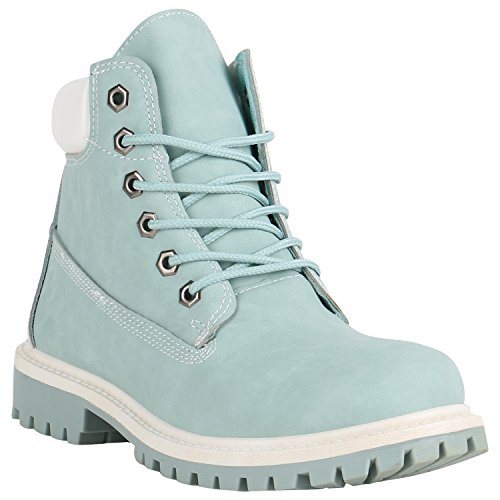 Stiefelparadies Bequeme Damen Stiefeletten Outdoor Worker Boots Flandell Hellblau Brooklyn