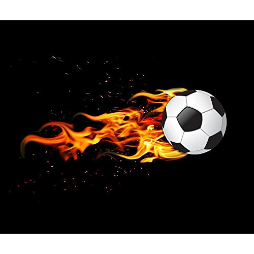 Pitaara Box Soccer Ball On Fire Unframed Canvas Painting 38.1 x 32inch by Pitaara Box