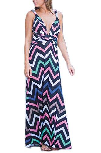Bohemio de playa de Colorblock con cuello en v profundo de las mujeres, vestidos Maxi
