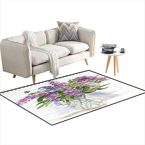 Caprice Vase - Extra Large Area Rug Lilac Butterfly Bush Flowers in Vase 3'x9'