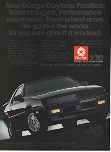 Magazine Print Ad: 1987 Black Dodge Daytona Pacifica Turbo,