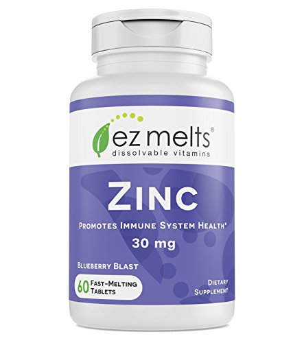 EZ Melts Zinc for Immune Support, 30 mg, Sublingual Vitamins, Vegan, Zero Sugar, Natural Blueberry Flavor, 60 Fast Dissolve Tablets