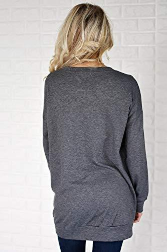 Blouse Shirts Printemps et Automne Longues Fonc Shirts Couleur Tops Manches Sweat Jumpers Col T Rond Gris Tees Unie Pulls Hauts Femmes Casual pparwZ