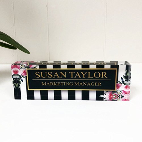 Desk Name Plate Personalized Name & Title, Stripes & Roses Printed on Premium Clear Acrylic Glass Block Custom Office Decor Desk Nameplate Unique Customized Desk Accessories Appreciation Gift ()