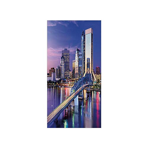 3D Decorative Film Privacy Window Film No Glue,United States,Urban Cityscape Bridge Office Buildings Jacksonville Florida,Violet Blue Light Pink Tan,for Home&Office