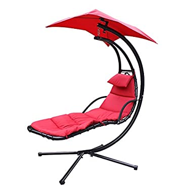 Super Deal Large Hanging Hammock Arc Stand Air Porch Chaise Lounger Outdoor Swing Chair Umbrella Stand Support Included Canopy Home Patio Yard Beige/Red (Red)