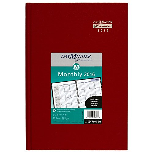 DayMinder Monthly Planner 2016, Premiere, 7.88 x 11.88 Inches, Assorted Colors - Color May Vary (G470H-10)