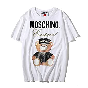 Moschino White Winnie The Pooh Short Sleeve T-shirt Lady Tee White For Women and Girl