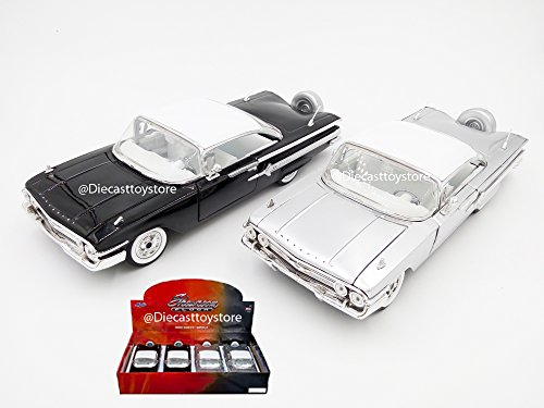 Hardtop Chevrolet Impala - NEW DIECAST MODEL TOY CAR 1:24 DISPLAY - SHOWROOM FLOOR - 1960 CHEVROLET IMPALA HARDTOP 1 PIECE RANDOM COLOR (SILVER, BLACK) - MIJO EXCLUSIVES WITHOUT RETAIL BOX 98903-MJ BY JADA