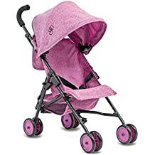 TRIOKID My First Baby Doll Stroller Miniline Grape Purple Travel Toys for Kids Portable Doll Pram Drawable Fabric with Removable Weather Resistant Canopy