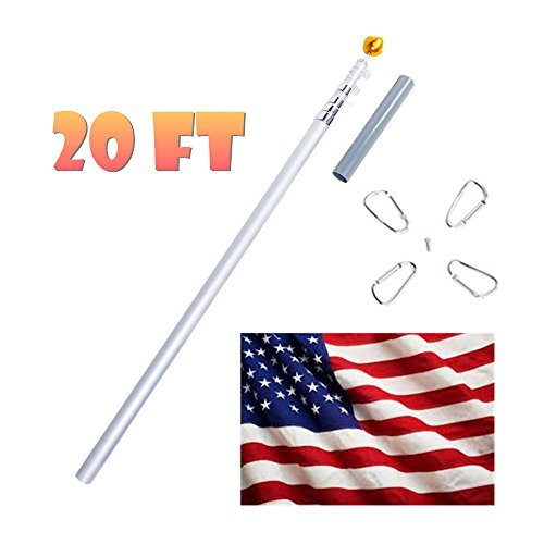 CO-Z 20ft Flag Poles Telescoping Aluminum with 3'X5' American flag, Golden Ball Finial, PVC Sleeve, Hooks & Screws