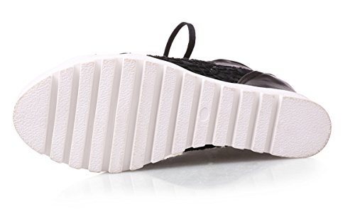 YE Women Peep Toe Wedges High Heels Plateau Mesh Lace up Sandals Black D3uuauxUy