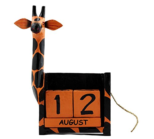 Wooden Perpetual Giraffe Calendar Handmade Unique Removable (Figurine Handmade Sculpture)