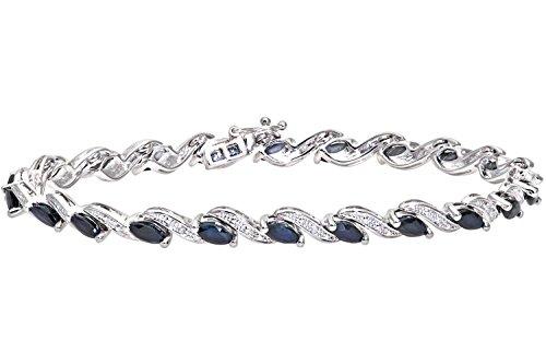 Naava - Bracelet - Femme - Or blanc (9 carats) 8.6 Gr - Diamant - Saphir 4.72 Cts