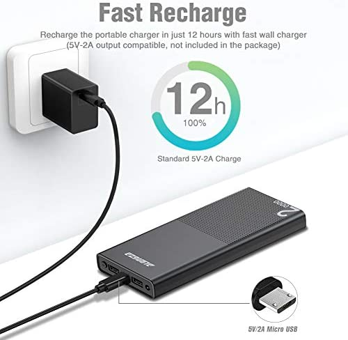 Alongza 20000mah Portable Charger, High Capacity Power Bank for Cell Phone 2 USB Ports External Battery Back Mobile Backup Charger Compatible with iPhone,Samsung, Android and More Smart Devices 41k7hOqre8L