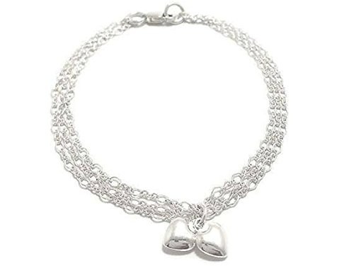 Kyperco 925 Sterling Silver Triple Chain Handmade Bracelet With Puffed Double Heart Charm For Women