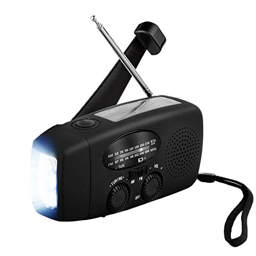 ANTOPM Solar Emergency Hand Crank AM/FM NOAA Weather Radio Self Battery Powered Hand cranked Alert Radio LED Flashlight 1000mAh Power Bank Phone Charger with USB Cable, Black by ANTOPM