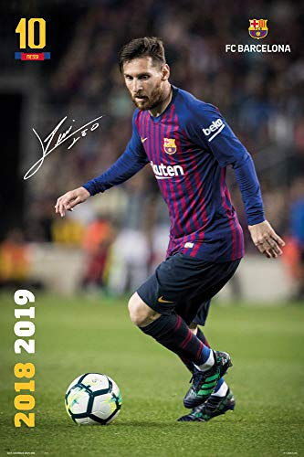 FC Barcelona - Soccer/Sports Poster/Print (Lionel Messi in Action - Season 2018/2019) (Size: 24 inches x 36 inches) (Black Poster Hanger)