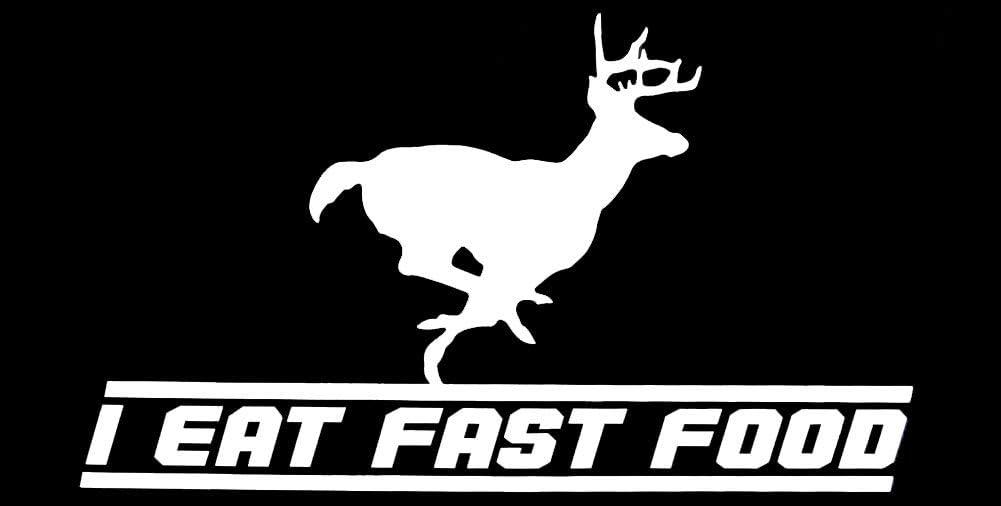 Wholesale Lot of 6 Deer Hunting I Eat Fast Food Black Decal Bumper Sticker