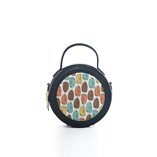 Fashion Microfiber&cowhide Zipper Round Packet Almond Dried Fruit Casual Snack Ideas Print One Shoulder Cross-body Bags Handbag Small Round Wallet Circle Purse Clutch