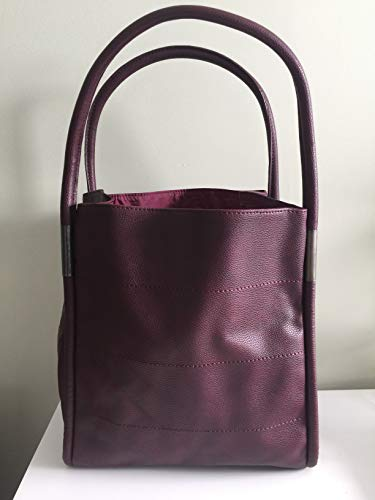 Neiman Marcus Faux Leather Tote Bag, WINE