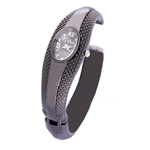 Women's Black Bangle LED Wrist Watch - 4