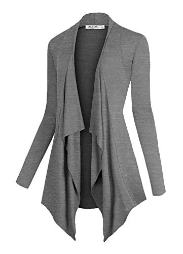 Lock and Love LL Women's Drape Front Open Cardigan Long Sleeve Irregular Hem S-5XL Plus Size Made in USA XXL H.D.G ()